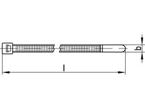 ART 82510 PA 6.6 W 7,6 x 465/ 130 Kabelbinder, schwarz, T120M-W,VE=S (100 Stück)