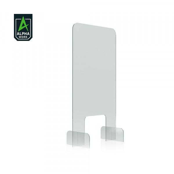 Alpha Work Nies- und Spuckschutz, Acryl Tischaufsteller, Hygienewand, 850x500mm, 13604