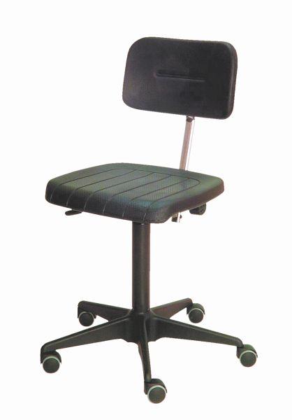 Lotz ESD Arbeitsstuhl, DIN EN 61340 5 1, SitzLehne PU, schwarz, Sitzhöhe 450 580 mm, Stahl Fußkreuz, Rollen, 6600.11 günstig kaufen | PROFISHOP