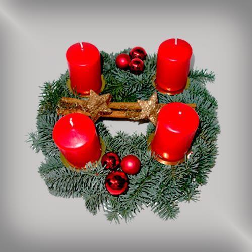 adventskranz geschm ckt 25 cm rubinfarben 50007816. Black Bedroom Furniture Sets. Home Design Ideas