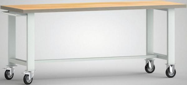 KLW Fahrbare Standard-Werkbank, 2000 x 700 x 840 mm, mit Buchen-Multiplexplatte, mit Schiebebügel und 2 Lenkrollen, WS800N-2000M40-X1890