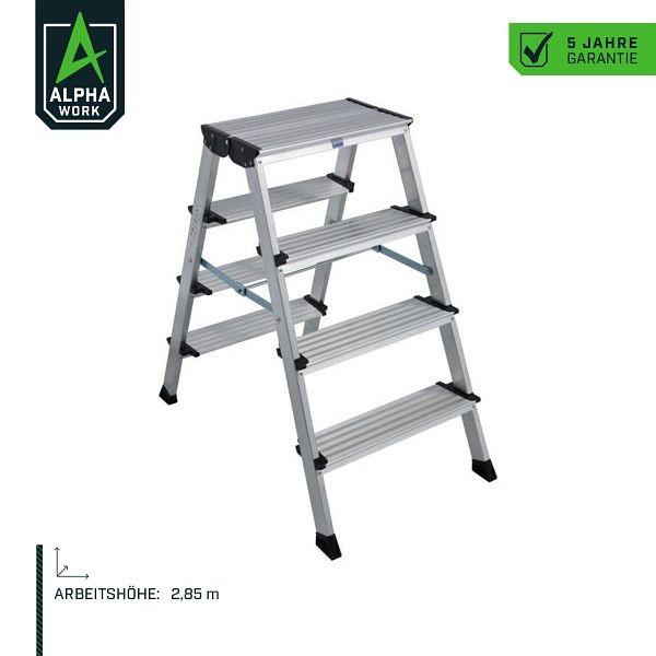 Alpha Work Klapptritt, 2 x 4 Stufen, 2,85 m Arbeitshöhe, 80320