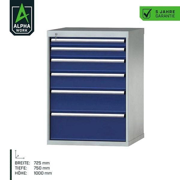 Alpha Work Schubladenschrank Basic, 725 x 1000 x 750 mm, Korpus: Lichgrau, Front: Enzianblau, Einbaumaß: 900 mm, Einteilung: 36x36 Einheiten, 07276