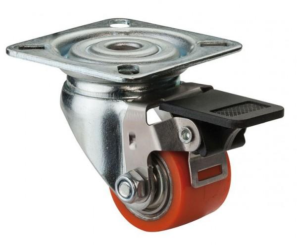 BS Rollen Kompaktrolle mit Feststeller, Breite 25 mm, Ø35 mm, bis 100 kg, Lauffläche Polyurethan, Radkörper Stahl, Kugellager, A620.C10.035