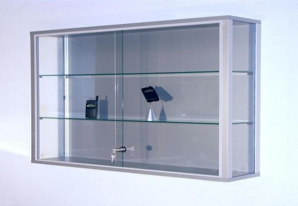 BST Wandvitrine, Dekor-Silber, 2 Böden, 1500x200x800mm, LINK-V158
