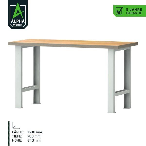Alpha Work Reihenwerkbank Basic, 1500 x 840 x 700 mm, Lichtgrau, Buchen-Multiplexplatte, 07272