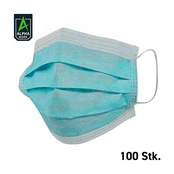 Alpha Work 100x Mundschutz 3-lagig, latexfrei, Einweg OP Maske, 13600