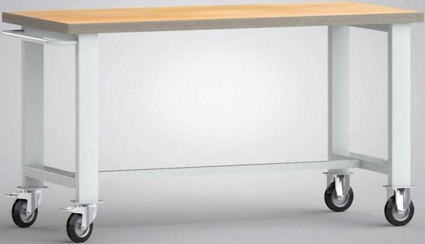 KLW Fahrbare Standard-Werkbank, 1500 x 700 x 840 mm, mit Buchen-Multiplexplatte, mit Schiebebügel, WS800N-1500M40-X1890